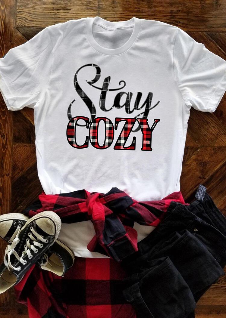 Stay Cozy Plaid Printed Splicing T-Shirt Tee – White