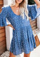 Polka Dot V-Neck Mini Dress without Necklace - Blue