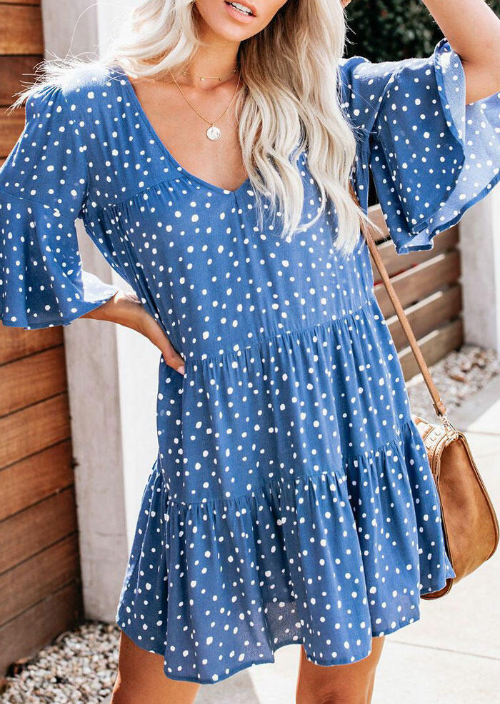 Polka Dot V-Neck Mini Dress without Necklace - Blue фото