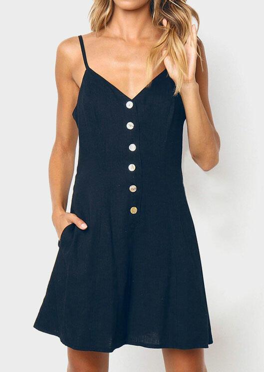 Button Spaghetti Strap Pocket Mini Dress without Necklace - Deep Blue фото