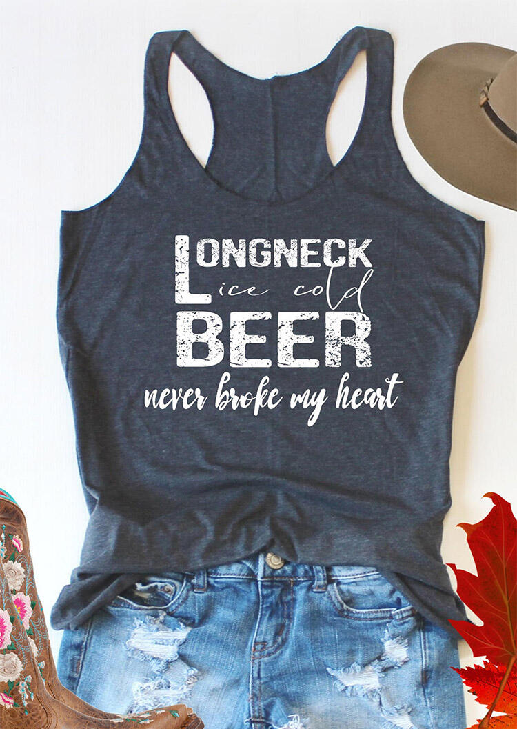 Tank Tops Long Neck Ice Cold Beer Never Broke My Heart Tank in Deep Blue. Size: S,M,L,XL,2XL фото
