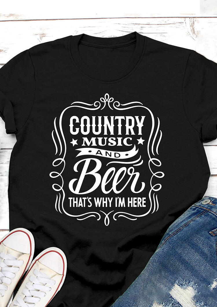 Country Music And Beer T-Shirt Tee - Black
