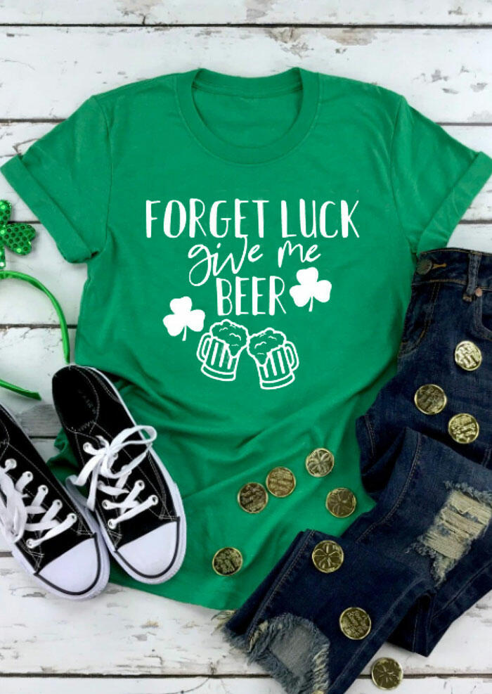Tees T-shirts Shamrock Forget Luck Give Me Beer T-Shirt Tee in Green. Size: S,M,L,XL фото
