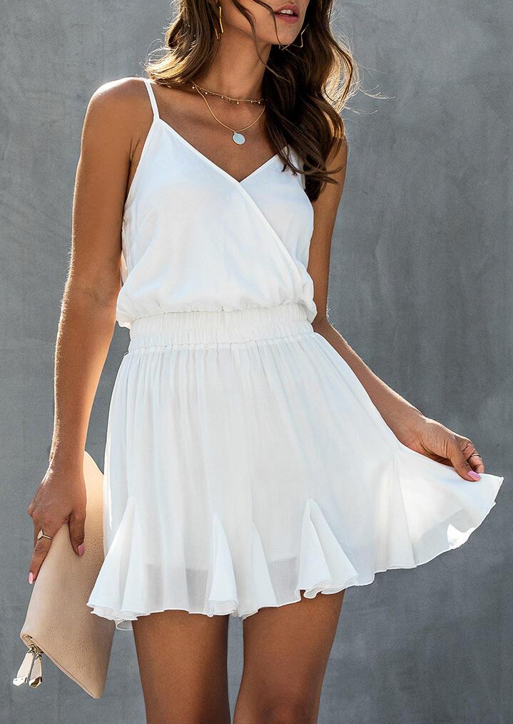 Ruffled Wrap Spaghetti Strap Mini Dress without Necklace – White