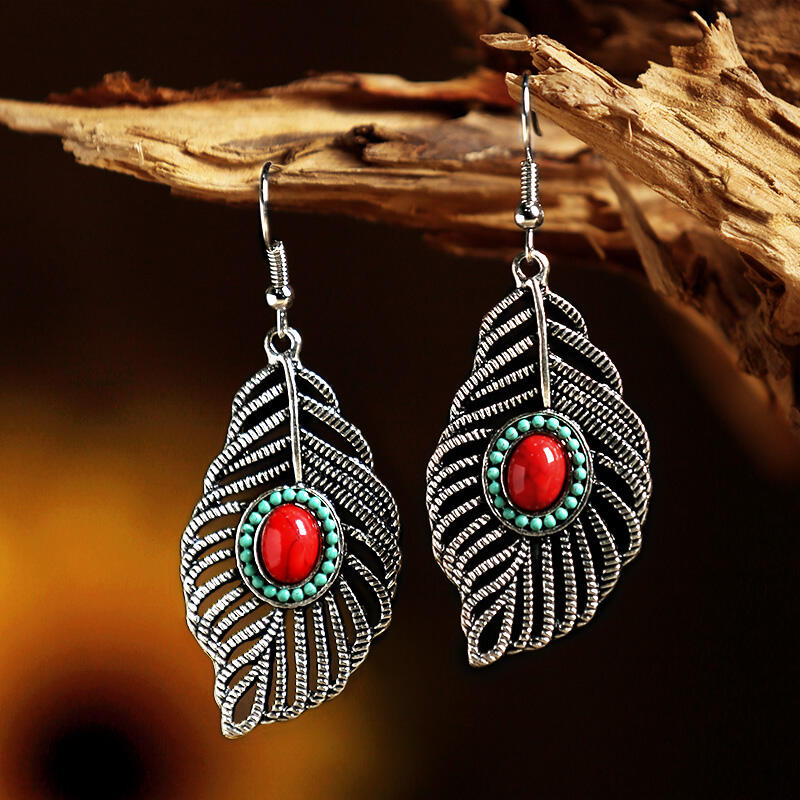 Hollow Out Leaf Bead Pendant Earrings