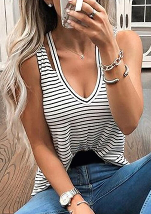 Striped Printed Tank without Necklace