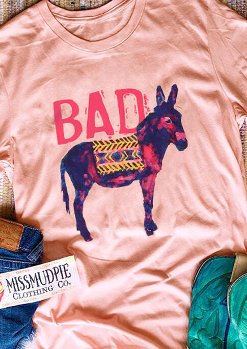 Tees T-shirts Bad Ass Donkey T-Shirt Tee - Pink in Pink. Size: S,XL фото