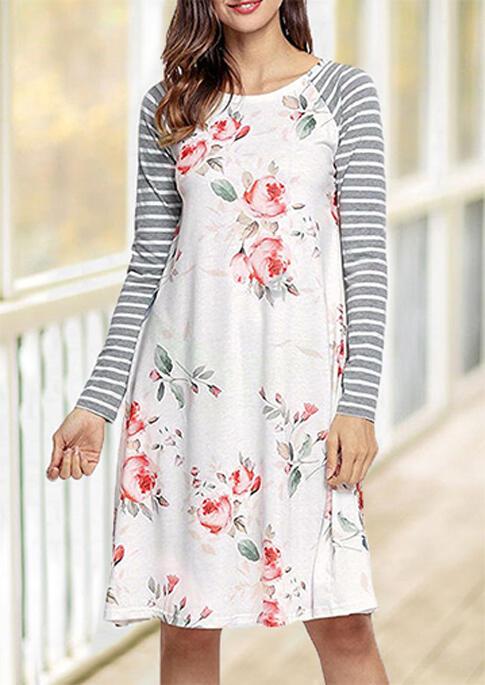 Floral Striped Splicing O-Neck Casual Dress – White