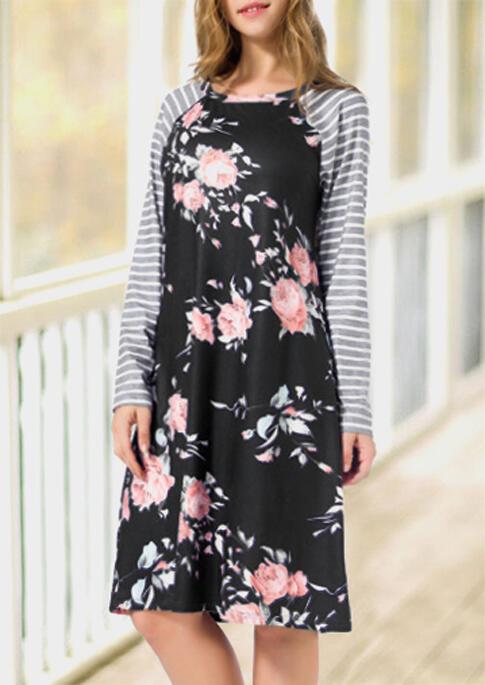 Floral Striped Splicing O-Neck Casual Dress – Black