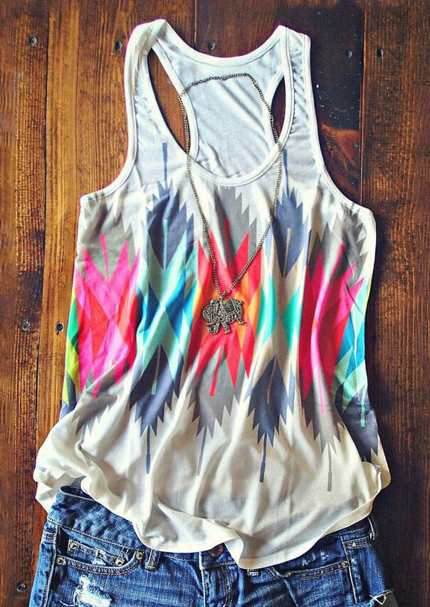 Geometric Printed Color Block Tank without Necklace – Apricot