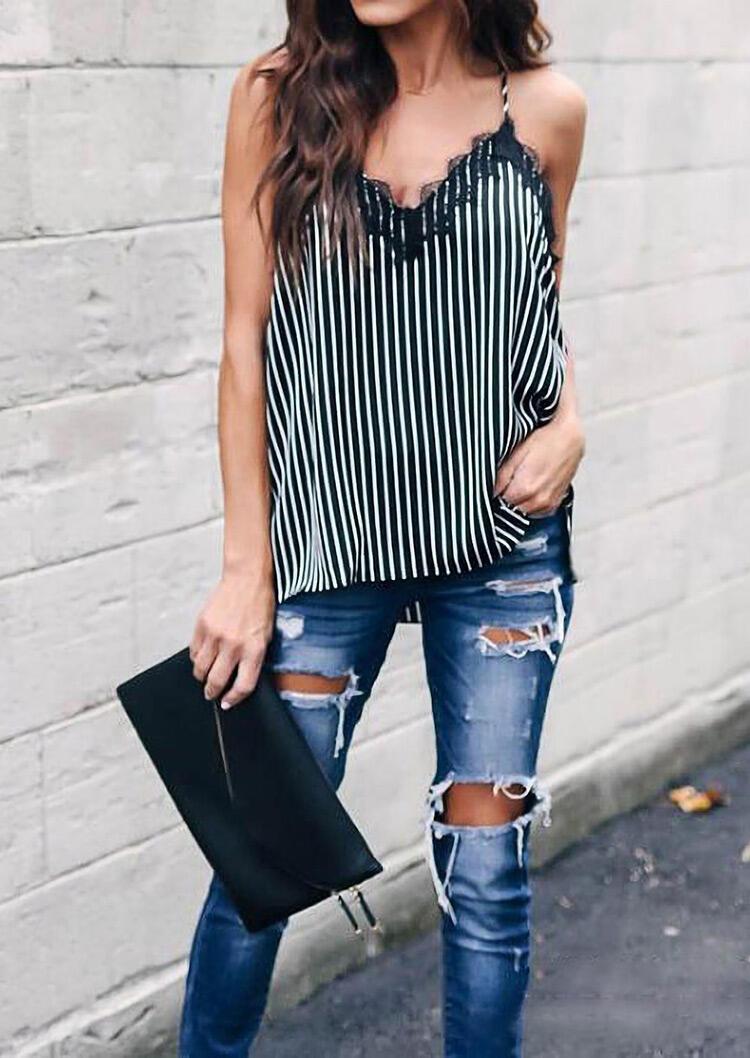 Striped Lace Splicing Sexy Camisole - Black