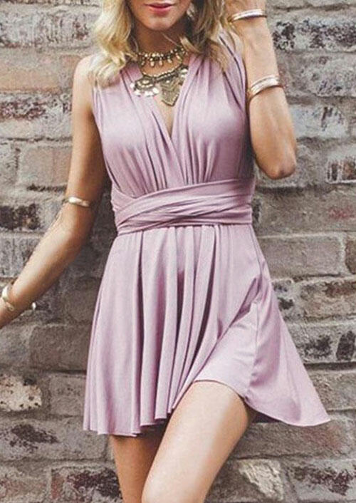Ruffled Wrap Open Back Mini Dress without Necklace - Pink фото