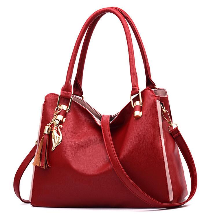 Solid Tassel Pendant PU Leather Crossbody Bag Handbag