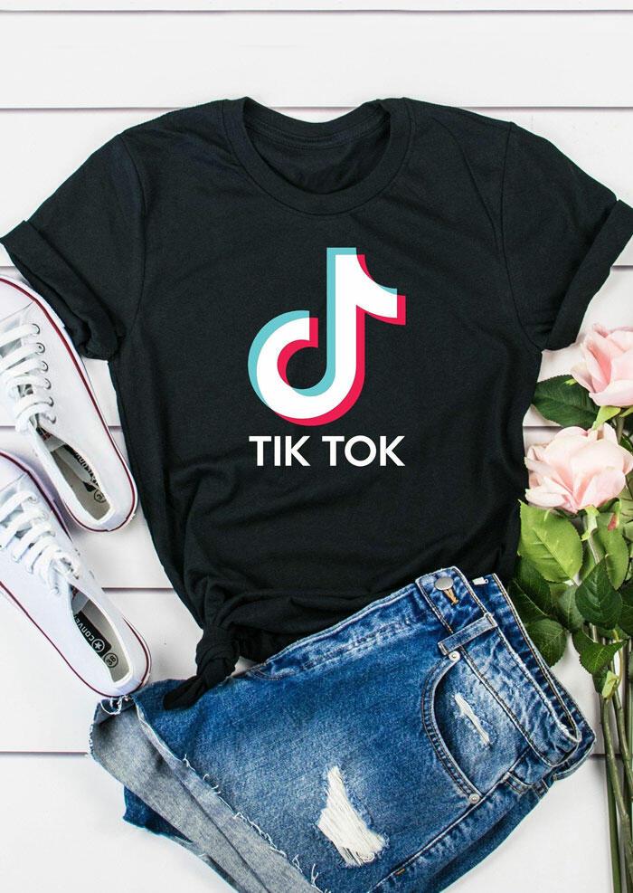 O-Neck Short Sleeve T-Shirt Tee – Black