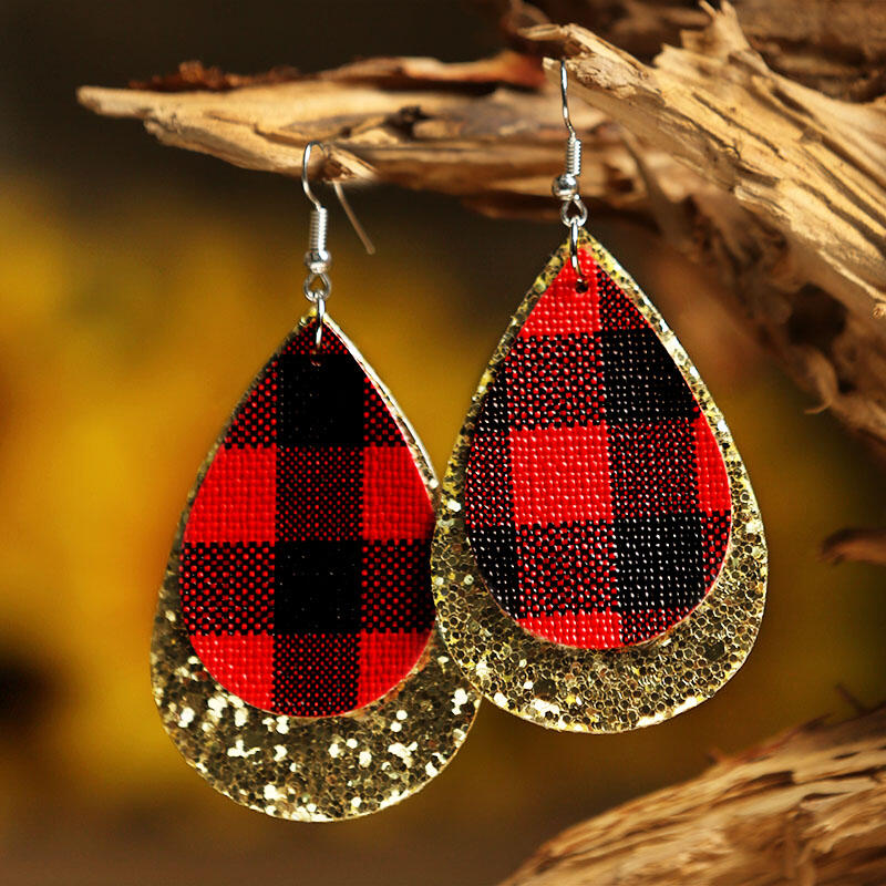 Plaid Sequined Dual-Layered Leather Earrings фото