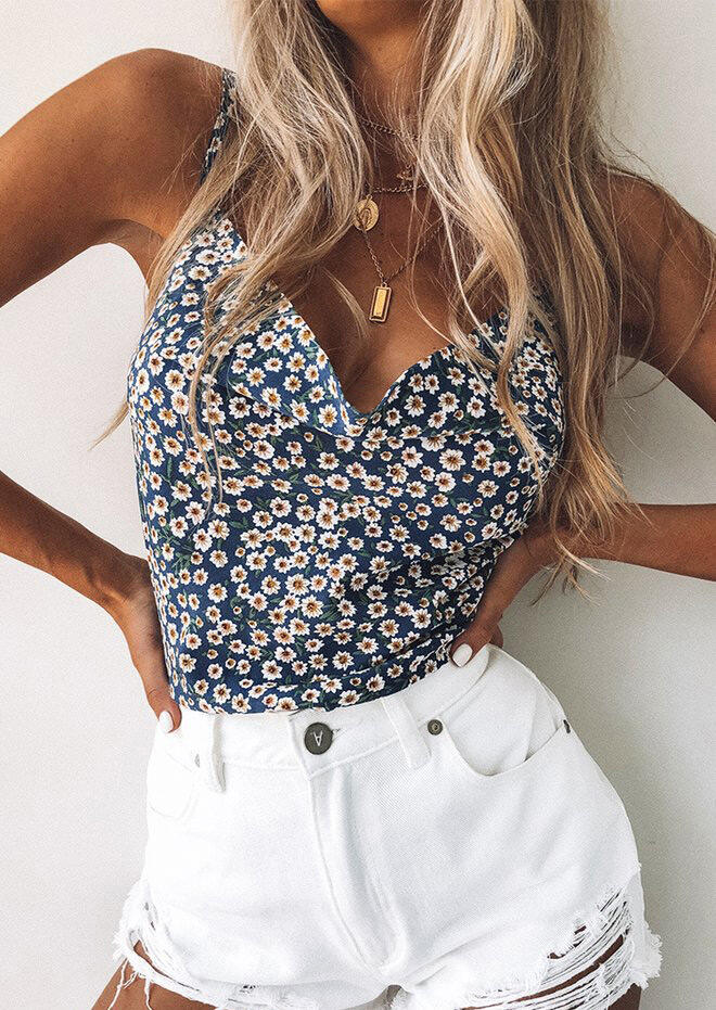 Tank Tops Floral Ruffled V-Neck Camisole without Necklace in Navy Blue. Size: S,M,L,XL фото