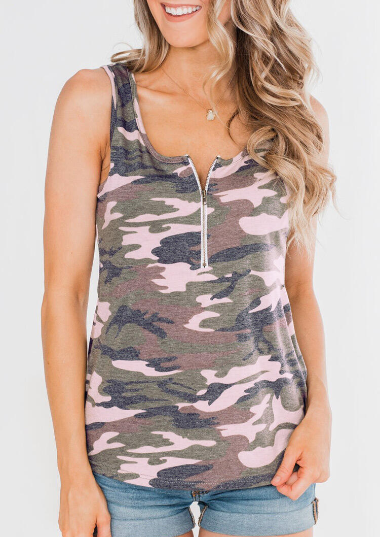 Camouflage Printed Zipper Tank without Necklace фото