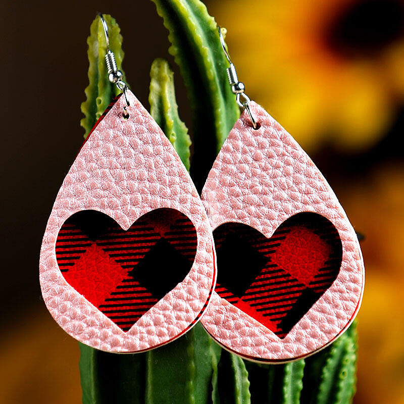 Faux Leather Earrings Red Plaid Love Heart Dual-Layered Valentine Earrings in Yellow. Size: One Size фото