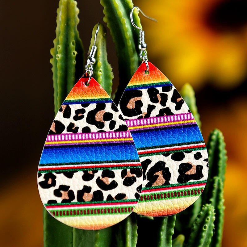 Leopard Printed Rainbow Striped PU Leather Earrings фото