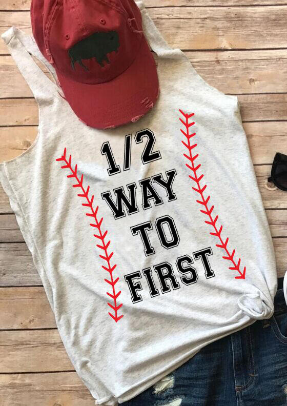 Tank Tops Half Way To First Baseball Tank - Gray. Size: S,M,L,XL фото