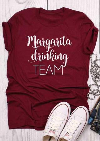 Margarita Drinking Team O-Neck T-Shirt Tee - Burgundy