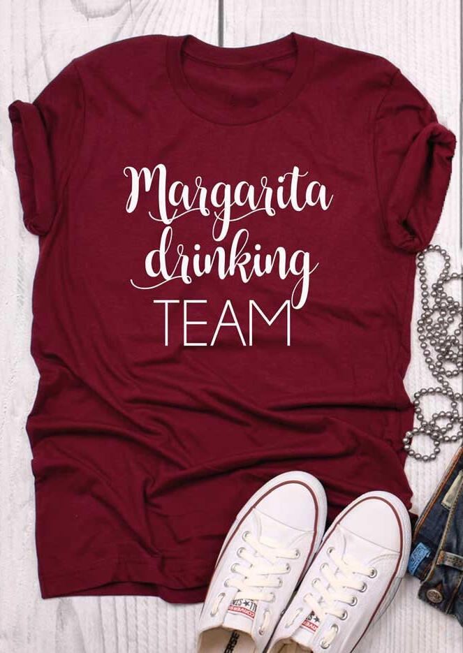 Tees T-shirts Margarita Drinking Team O-Neck T-Shirt Tee in Burgundy. Size: S,M фото
