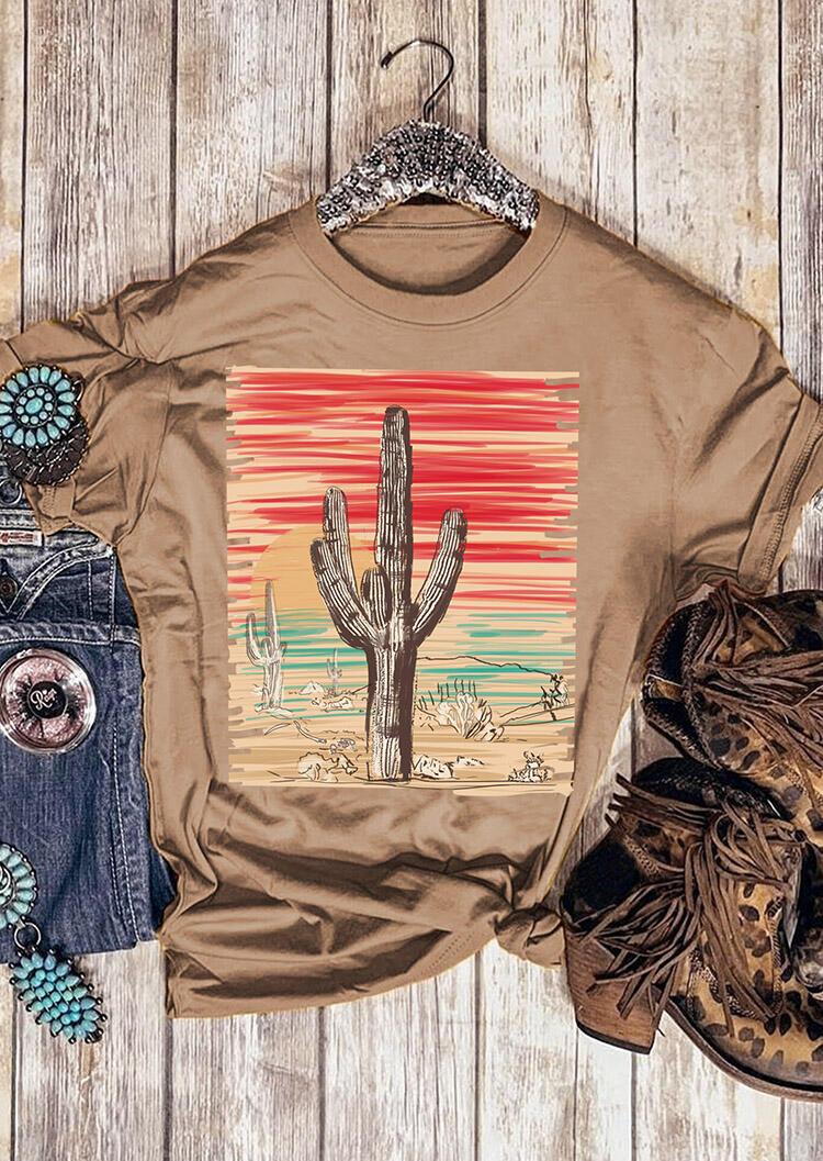 Cactus Printed T-Shirt Tee – Brown