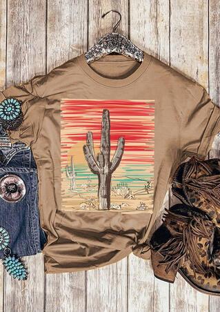 Cactus Printed T-Shirt Tee - Brown