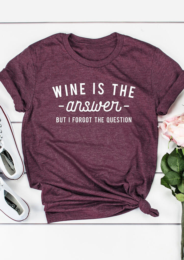 Tees T-shirts Wine Is The Answer T-Shirt Tee in Plum. Size: S,XL фото