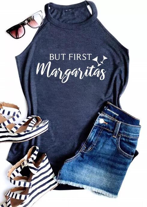 But First Margaritas Tank - Navy Blue