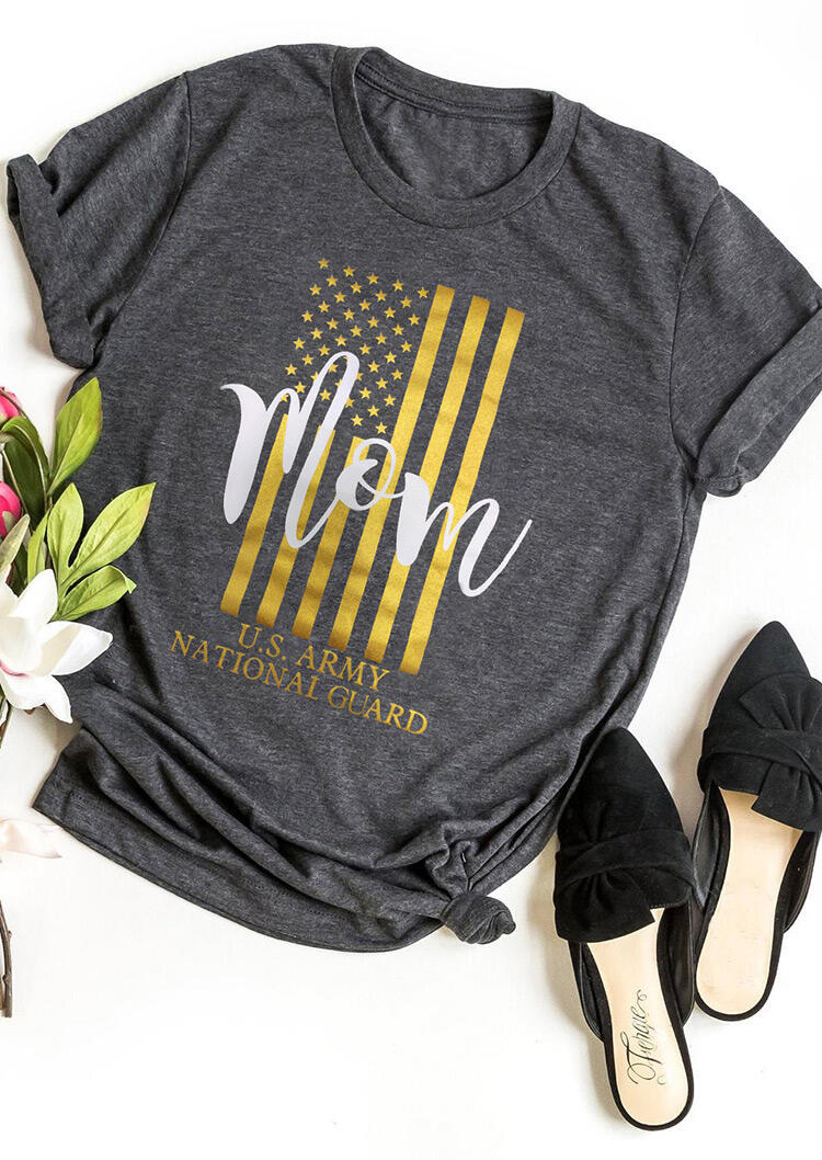 Military Mom American Flag T-Shirt Tee – Gray