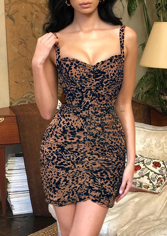 Leopard Printed Ruffled Bodycon Dress фото