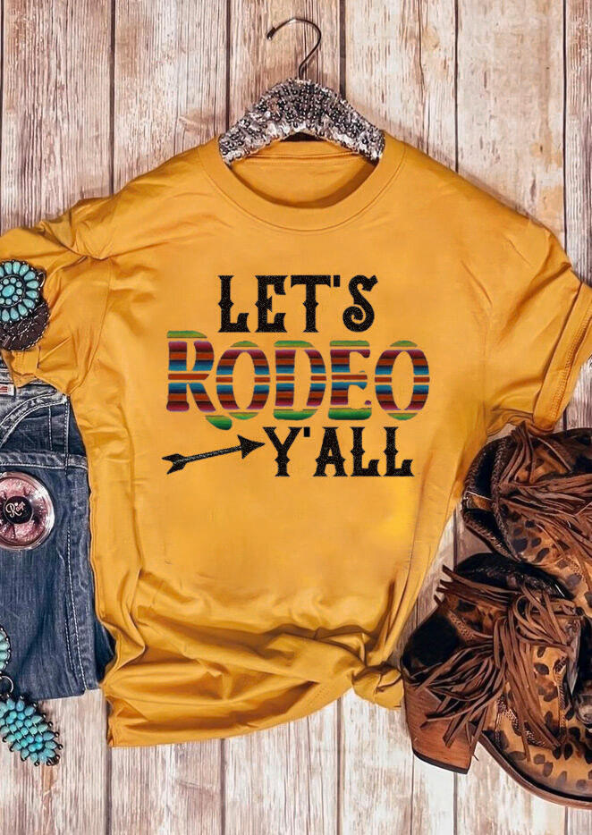 Tees T-shirts Let's Rodeo Y'all O-Neck T-Shirt Tee in Yellow. Size: M,L,XL фото