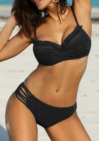 Ruffled Hollow Out Tie Velvet Bikini Set - Black