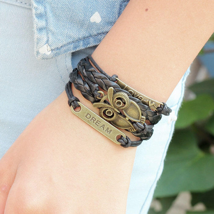 Bracelet Owl Love Dream Bracelet in Black. Size: One Size фото
