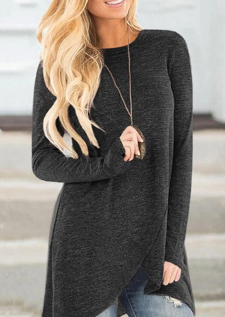 Solid Irregular Wrap Blouse without Necklace – Black