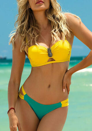 Color Block Hollow Out Ruffled Pineapple Bikini Set - Yellow