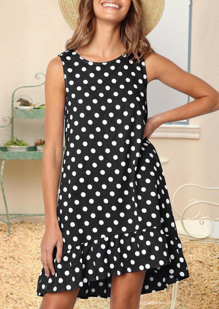 Mini Dresses Polka Dot Ruffled Mini Dress in Black. Size: S фото