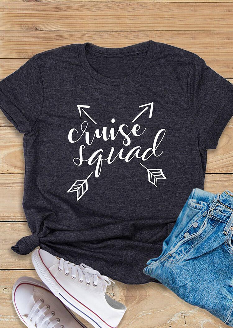 Cruise Squad O-Neck T-Shirt Tee - Gray фото