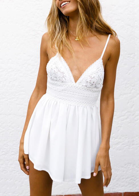 Lace Splicing Spaghetti Strap Romper without Necklace - White фото