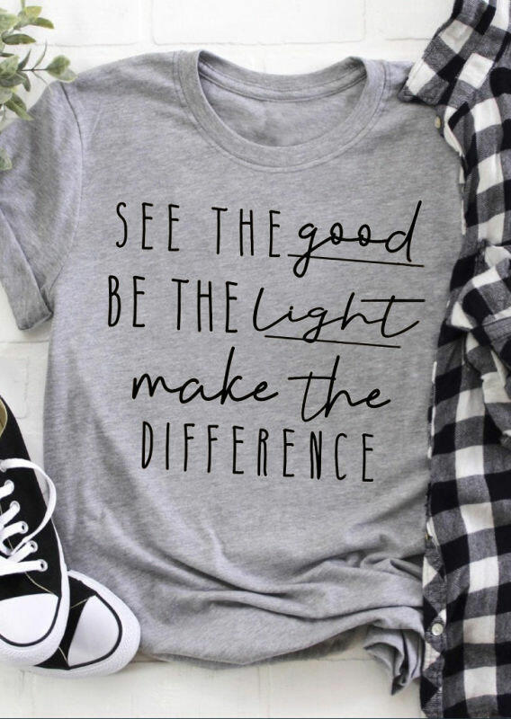 Tees T-shirts See The Good Be The Light O-Neck T-Shirt Tee - Light Grey. Size: S,M фото