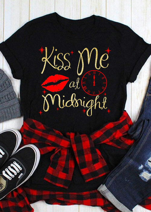 Kiss Me At Midnight T-Shirt Tee - Black фото