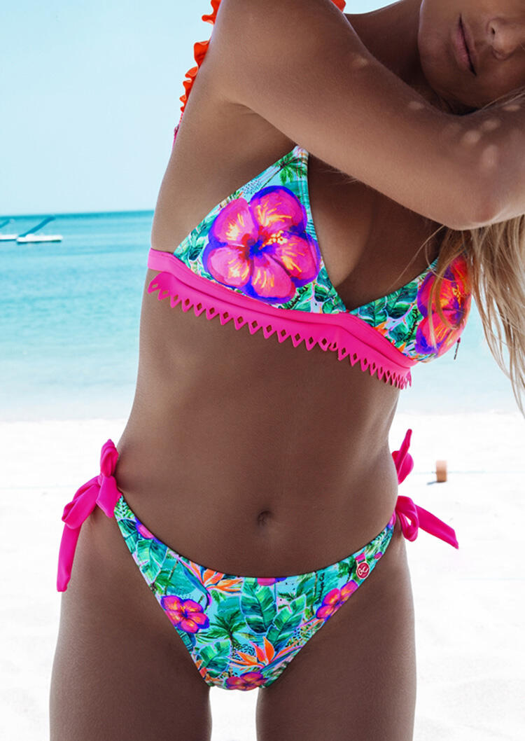 Floral Tie Ruffled Bikini Set – Multicolor