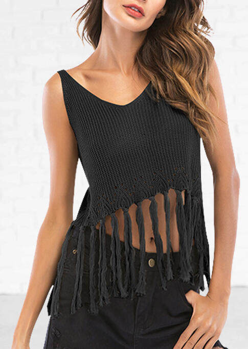 Tank Tops Tassel Splicing V-Neck Camisole - Black. Size: One Size фото