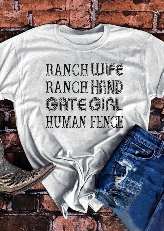 Ranch Wife Ranch Hand Gate Girl Human Fence T-Shirt фото