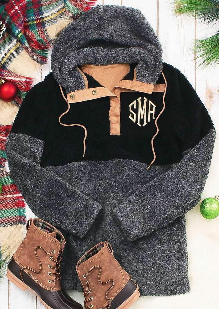 Monogrammed Button Drawstring Plush Hoodie – Dark Grey