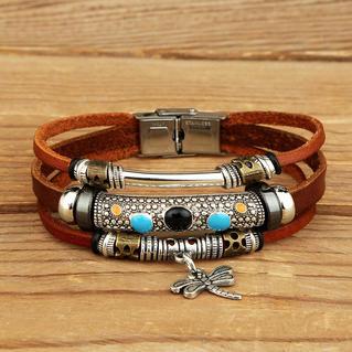 Dragonfly Turquoise Layered  Leather Bracelet