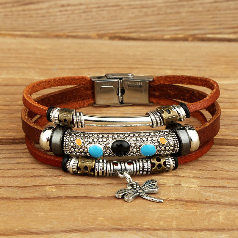 Dragonfly Turquoise Layered Leather Bracelet фото