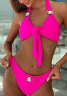 Shiny Rhinestone Tie Halter Bikini Set
