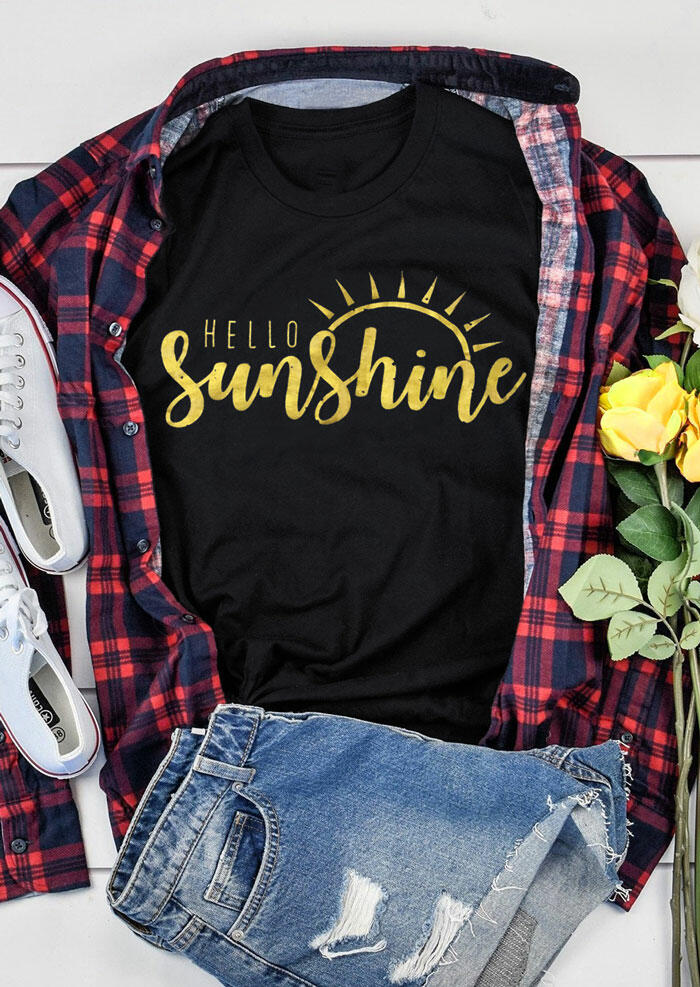 Tees T-shirts Hello Sunshine O-Neck T-Shirt Tee in Black. Size: S,M фото